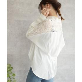 (felt maglietta/フェルトマリエッタ)肩レースデザインシャツ/レディース ホワイト