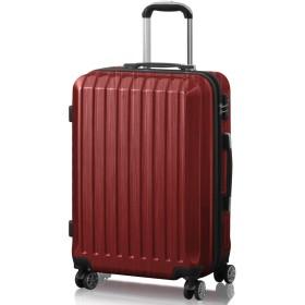FIELDOOR TSAロック搭載スーツケース [STRAIGHT NEO] 【Mサイズ/レッド】 ダブルキャスター 鏡面ヘアライン仕上げ トラベルキャリーケース リブ構造 ポリカーボ樹脂 軽量 耐衝撃 容量拡張機能 ダブルファスナー