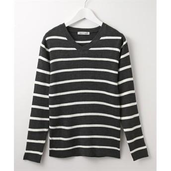 リブ編みボーダーVネックニット (ニット・セーター)(レディース)Knitting, Sweater, 毛衣