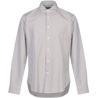 《セール開催中》CRUCIANI メンズ シャツ ダークブラウン 40 コットン 100%