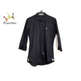 バーバリーブラックレーベル Burberry Black Label 七分袖シャツ サイズ2 M メンズ 黒  値下げ 20191203