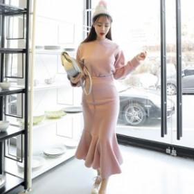ニットトップス レーススカート 花柄 姫系ワンピース 韓国 タイトワンピース 可愛い インポート きれいめ セクシー シャツ フレア袖 V