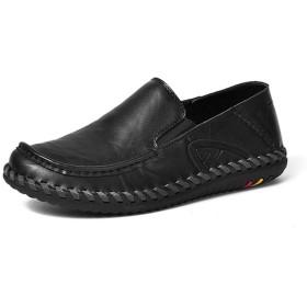 [ZJHZ] ローファー メンズ 学生靴 ヒールなし 厚底 エナメル 通学 通学 カジュアル 学生 男子 ビジネスシューズ 柔らかい 大きいサイズ 普段用 職場用 歩きやすい ブラック ウォーキングモカシン スリッポン メンズ 通気性 27.0cm かかとなし