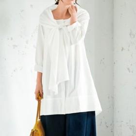49%OFF【レディース大きいサイズ】 2WAYチュニックシャツ(綿100%) - セシール ■カラー:アイボリホワイト ■サイズ:L,3L,4L,5L