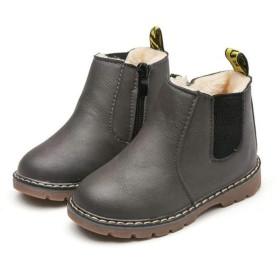 ショートブーツ キッズ 子供用 裏起毛 マーティンブーツ マーティン靴 防寒靴 男の子 女の子 イギリス風 グレイ(普通 【25】