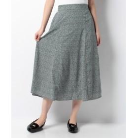 (Green Parks/グリーンパークス)単色フラワー柄ロングスカート/レディース ブルー