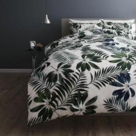 lifea 日本製 綿100% リフィー 43×63用 ベッド用 ダブル4点セット 布団カバーセット エレガントモダンリーフデザインカバーリング