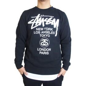 (ステューシー) STUSSY スウェット トレーナー/World Tour CREW (2色) [並行輸入品] (BLACK, L)
