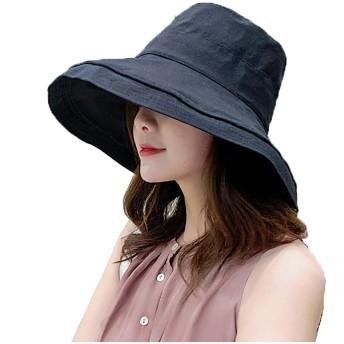 SRUQ UVカット 帽子 レディース 紫外線対策 熱中症予防 つば広 おしゃれ 可愛い ハット 取り外すあご紐 サイズ調節可 旅行用 日よけ 女優帽 折りたたみ 持ち運び (黒)