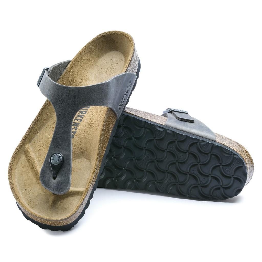 勃肯 Birkenstock 經典Gizeh 夾腳拖鞋- 鐵灰 油感皮