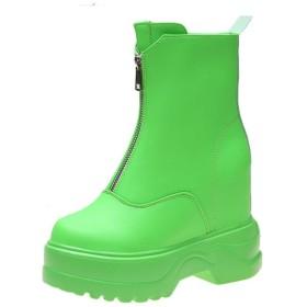 [イノヤシューズ] ショートブーツ ブーツ レディース 厚底ブーツ インヒール 22.0cm ウェッジソールブーツ 厚底靴 前厚 ブーティ ハイヒール ブーティー ジッパー サイドゴアブーツ キャンディーカラー おしゃれ グリーン/緑 ハロウィン イベント靴 レディース