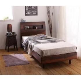 棚・コンセント付きデザインすのこベッド プレミアムボンネルコイルマットレス付き セミシングル