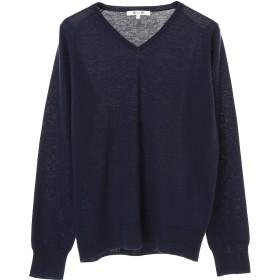 three dots l/s v-neck top Tシャツ・カットソー,ネイビー
