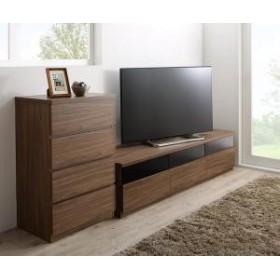 + 4杯 木製 幅60 60型 幅180 引出し TV-line チェスト 2点セット ローボード テレビライン テレビボード ウォルナットブラウン