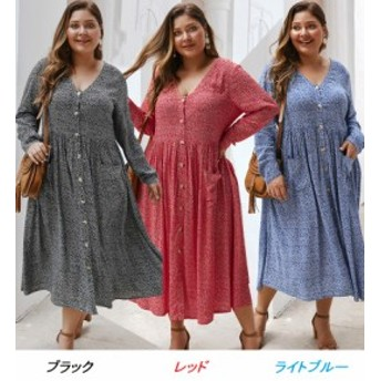 【 XL ~ 4XL 】 大きいサイズ レディース ゆったり 長袖 秋新作 ロング ドレス 3XL 2XL 70639