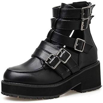 [MAMRE] ジッパー アンクルブーツ ショートブーツ マーチンブーツ 黒 秋ブーツ ブーティ ハイヒール ウェッジヒール 太ヒール 合わせやすい 美脚 24.5cm 脚長 歩きやすい 無地 パンクファッション パーティー ハロウイン ブーティー