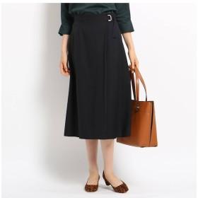 【インディヴィ/INDIVI】 【ハンドウォッシュ】サイドバックルツイルラップスカート