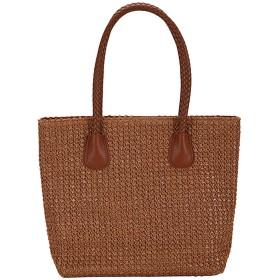 ジッパー付きカジュアル婦人織りジッパーソリッドカラーのショルダーバッグハンドバッグショッピングバッグ夏のために、BW