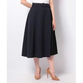 (Te chichi/テチチ)Techichi 異素材配色プリーツスカート/レディース ネイビー