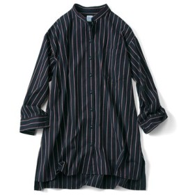 レジメンタルストライプのロングシャツ〈ブラック〉 HIROMI YOSHIDA. フェリシモ FELISSIMO【送料無料】