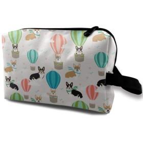 コーギーと熱気球 化粧品袋 トラベルコスメティックバッグ 防水 大容量 荷物タグ付き 旅行収納ポーチ アレンジケース パッキングオーガナイザー 出張 旅行 衣類収納袋 スーツケース整理 インナーバッグ メッシュポーチ 収納ポーチ
