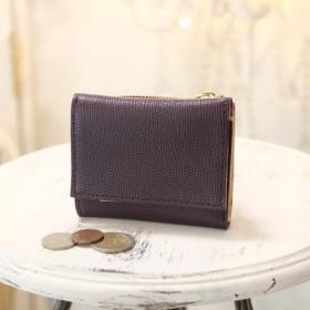 【永久無料保証】高級カーフ ワープロラックスレザー パープル 三つ折り財布 ハイブランドも使用する人気で有名な革