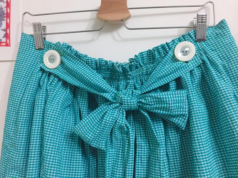 多穿法/吊帶裙或半身裙/-藍綠白泡泡