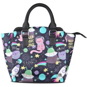 スペースキャット宇宙飛行士女性の女の子のためのハンドバッグ女性クロスボディバッグ革サッチェル財布メイクトートバッグ