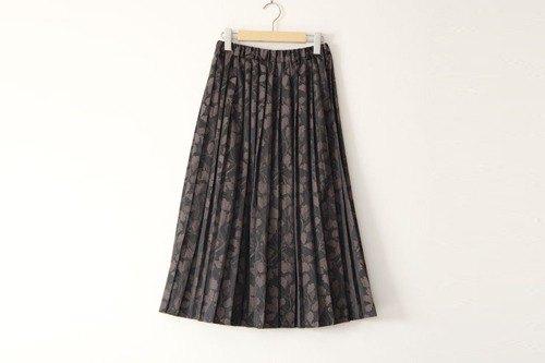 JACQUARD PLEATED SKIRT提花百褶裙橡子森林灰色