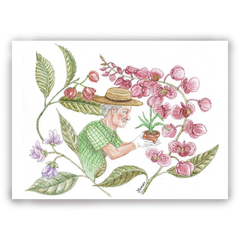 父親節-手繪插畫萬用卡/卡片/明信片/插畫卡-花繪 花卉 種花 花草