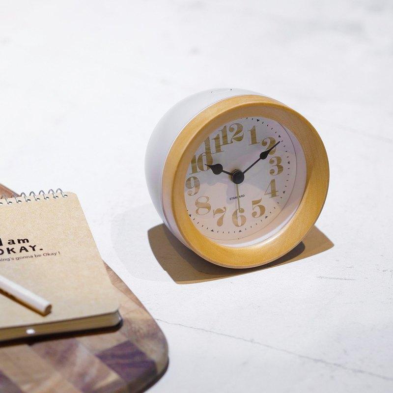 Machecl- 圓形 靜音 時鐘 鬧鐘(白)