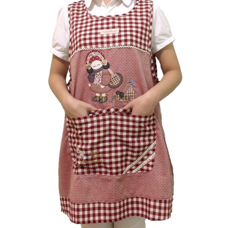 【BEAR BOY】戴帽女孩4口袋圍裙-紅(後綁)