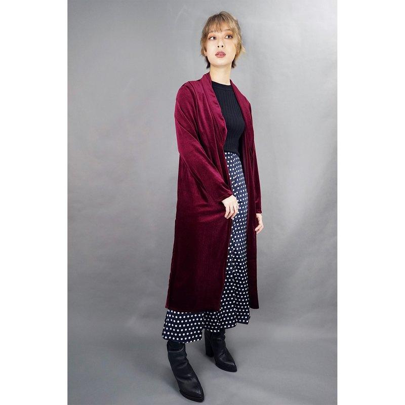 OooWow手工製 深紅色 絲絨長外套