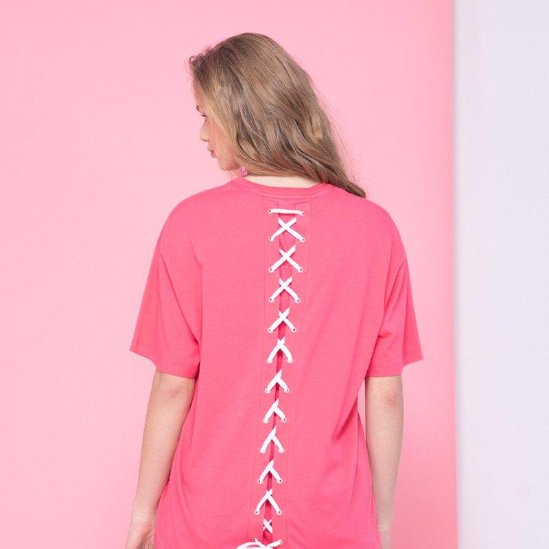 【中性款】 後綁帶短袖圓領上衣 / 桃紅色