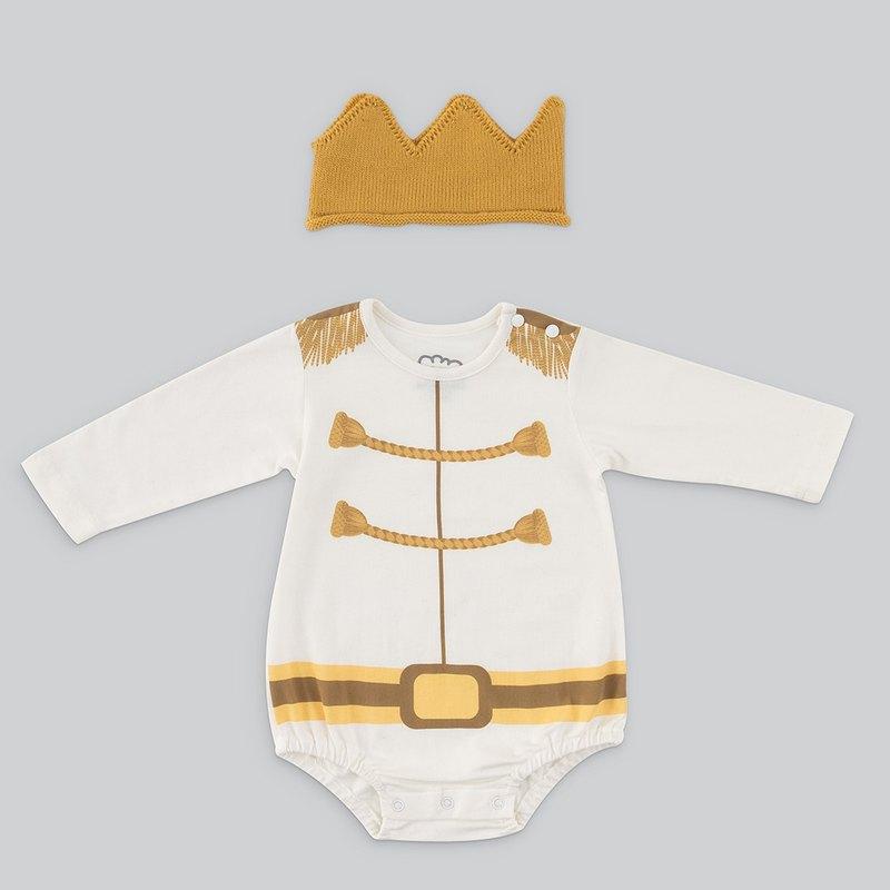 男嬰連身衣組 - MIT白馬王子(連身衣+皇冠帽) 包屁衣