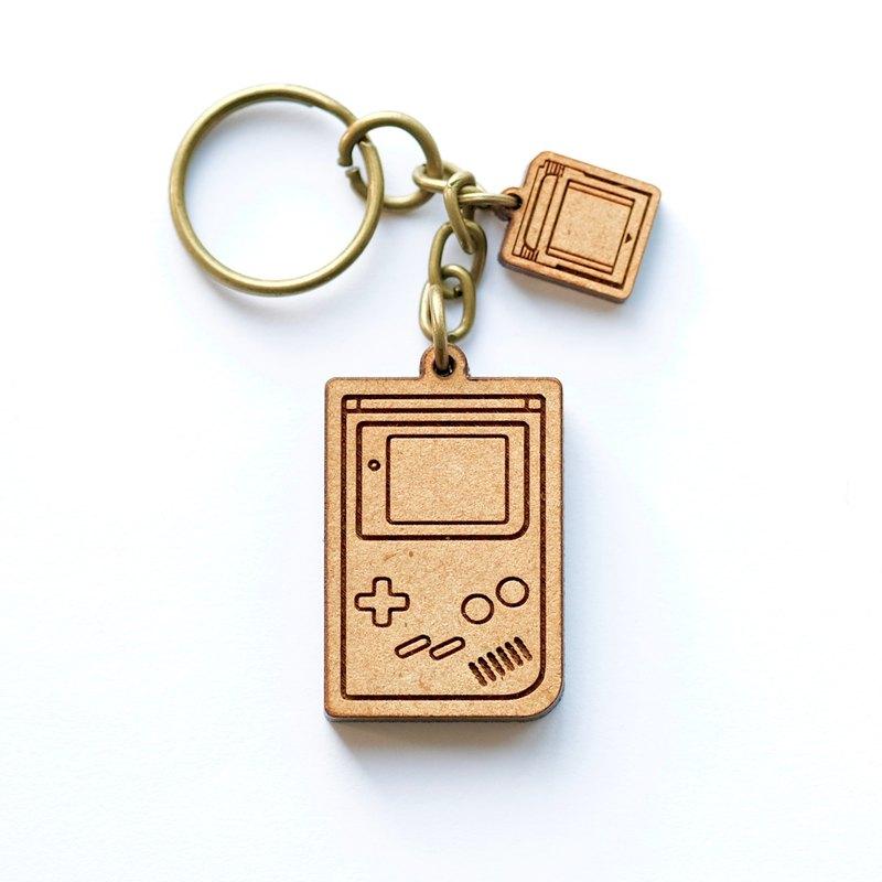 木製鑰匙圈-Gameboy