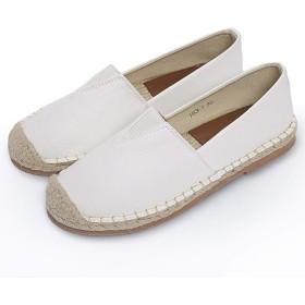[MAGCOL] 平らな底新しいエンドウ豆の靴女性の春夏編まれた漁師の靴ペダル怠zyな靴オフィス小さな白い靴社会的な女性の靴作業靴 (Color : Beige, サイズ : 39)