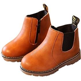 Plus Nao(プラスナオ) サイドゴアブーツ ショートブーツ 内ボアブーツ 子供用 子供靴 ショート丈 定番 シンプル ローヒール ぺたんこ フラ ブラウン 36【21.0~21.5cm】