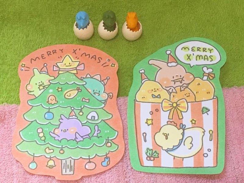 狗狗夾星/造型明信片2款/聖誕恐龍03