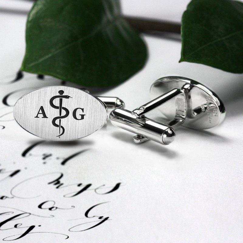 给医生的礼物 - 医疗标志袖扣 - 医生袖扣 - 袖扣钉字母