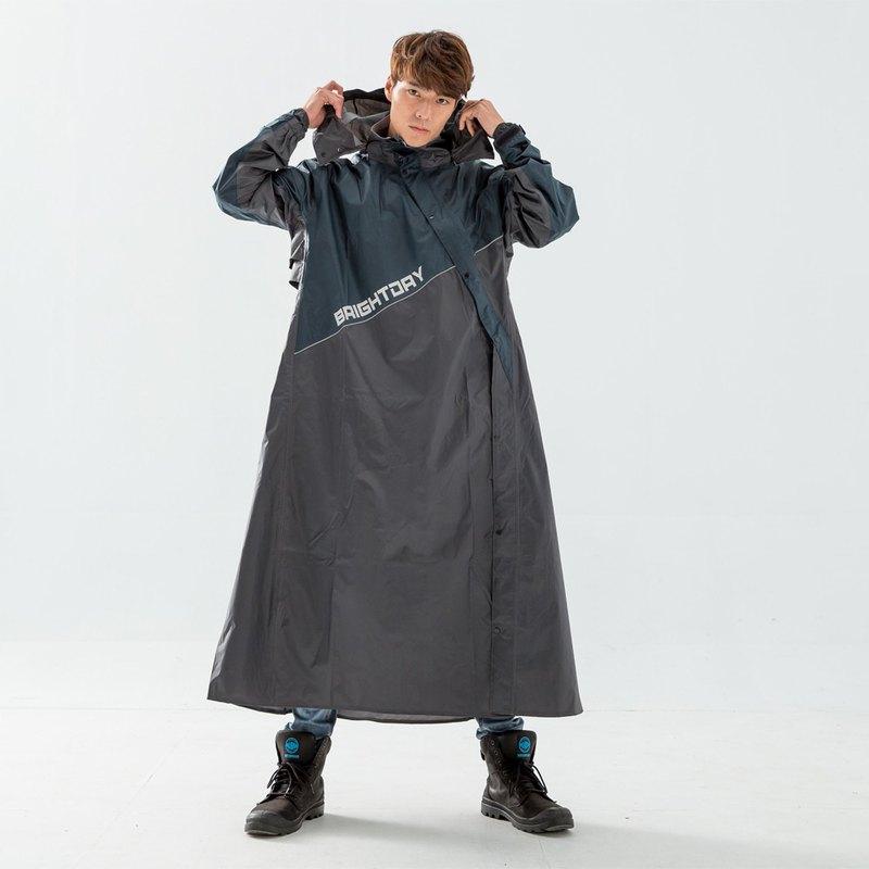 X武士斜開連身式風雨衣-墨綠