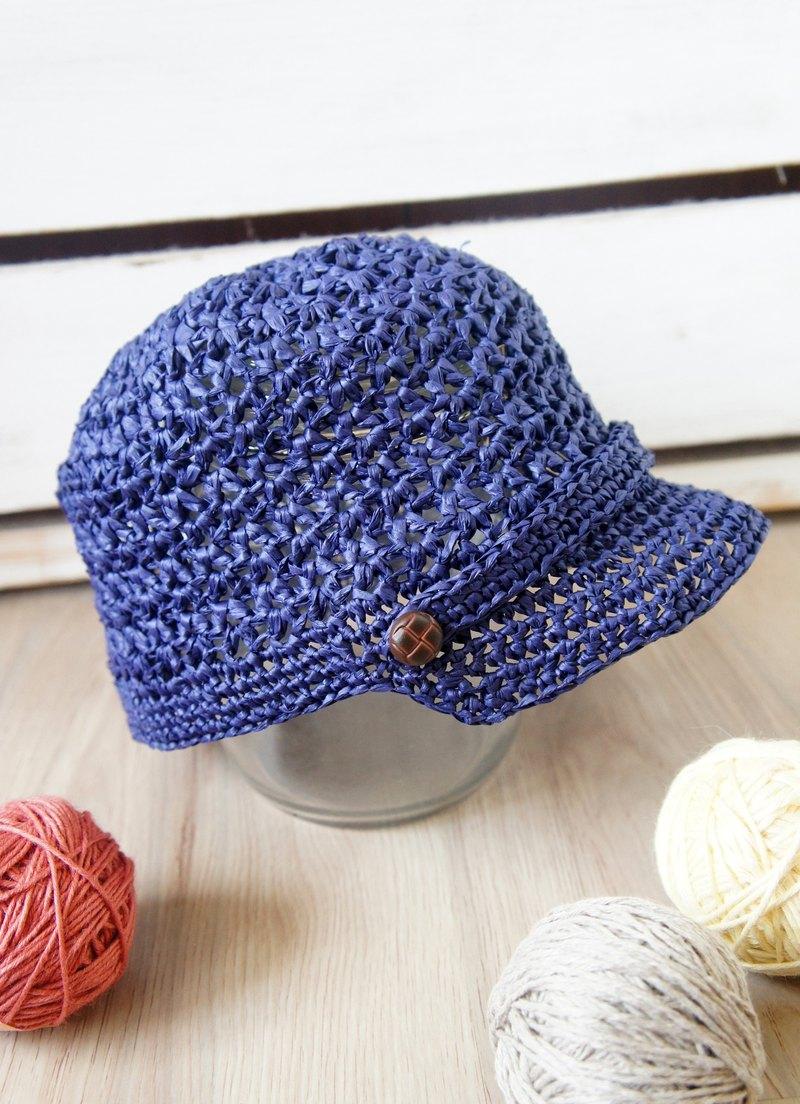 手工編織-草線編織簍空個性馬術帽/棒球帽/遮陽帽(小孩款/男女孩皆可戴)~