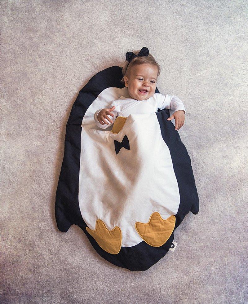 【NEW】鯊魚咬一口BabyBites純棉嬰幼兒多功能睡袋-企鵝造型