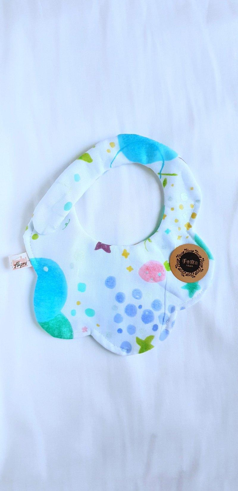 水果風格-藍-八層紗100%cotton隨性圓弧造型圍兜.口水巾