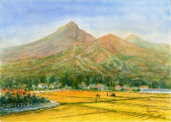 水彩繪畫萬代山在秋天