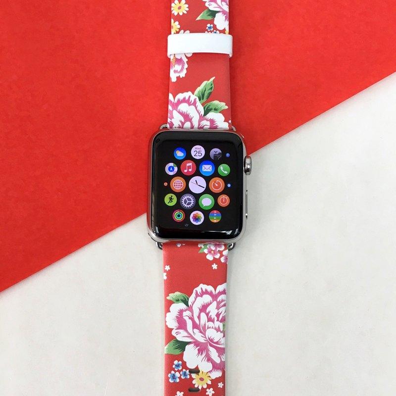 Apple Watch Series 1 - 5 紅色古典花圖案手錶帶 38 40 42 44 mm