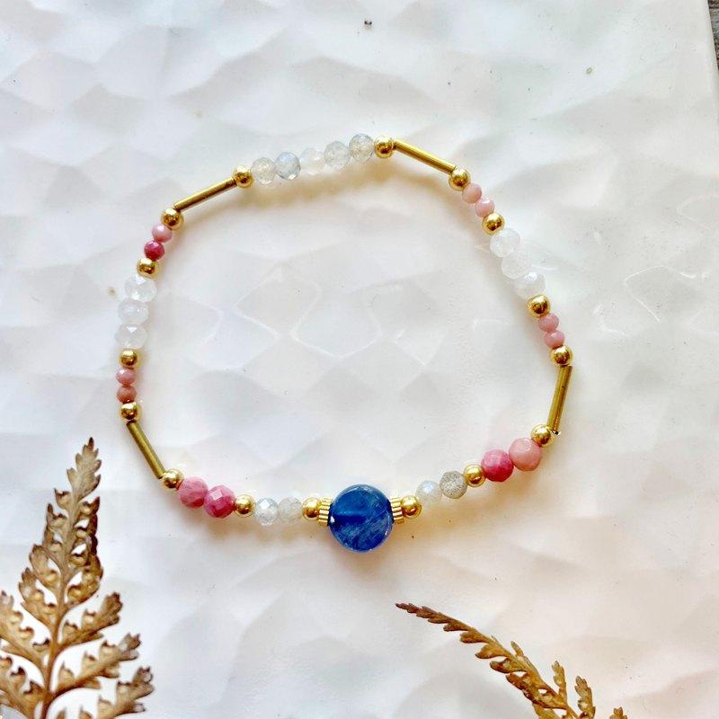 老林雜貨 l 天然半寶石彈性手鍊 藍晶石/玫瑰石/月光石/拉長石