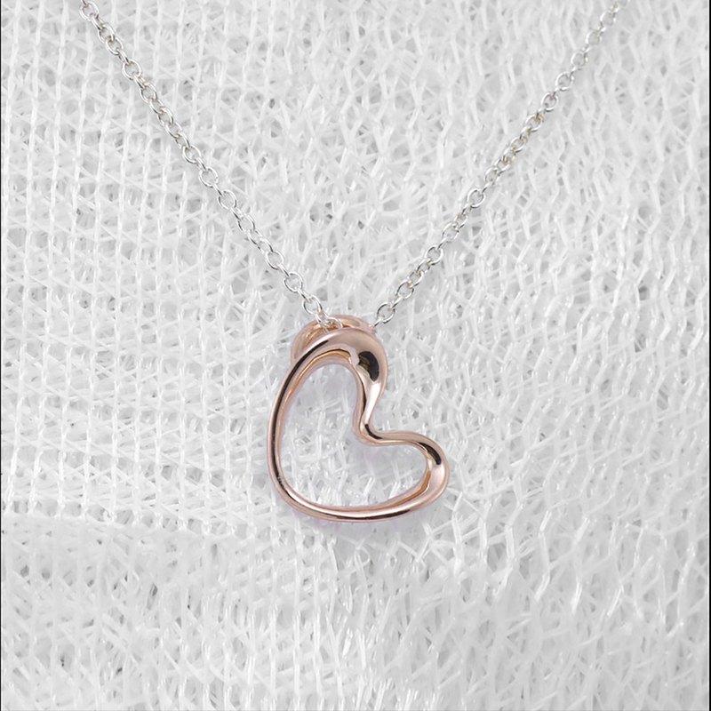 【安心出貨】關於愛 -悸動的心- 愛心玫瑰金項鍊 鎖骨鍊 手作飾品