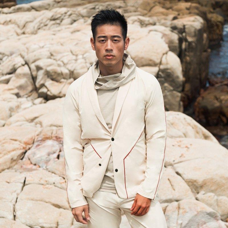男士彈性西裝外套 (白沙色)