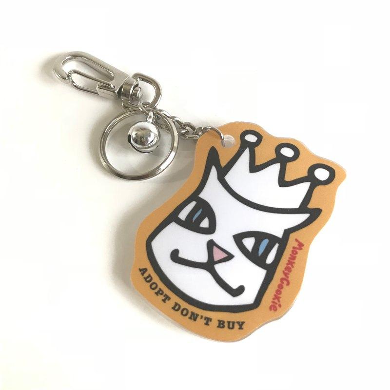 【推薦百元交換禮】Molly貓貓戴皇冠鈴鐺壓克力鑰匙圈 橘色附包裝